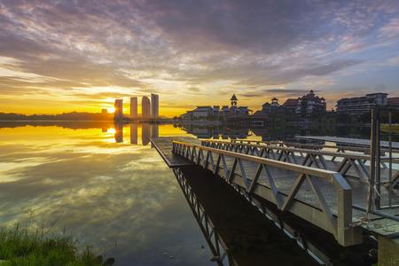 Putrajaya lake with a nice view jetty