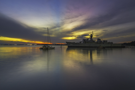 Replica of a Navy War Ship During Sunset / Sunrise view Editorial