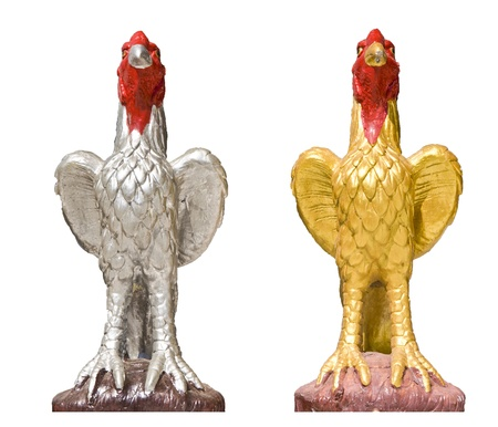 Chicken statue isolated photo