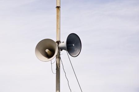 soundsystem: loudspeaker on pole Stock Photo