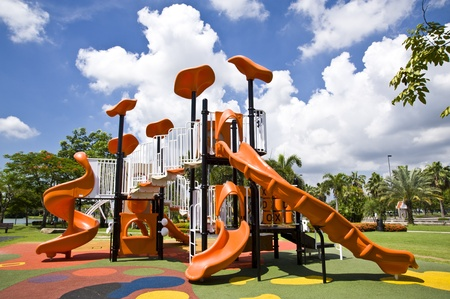 playgrounds in park Stock Photo