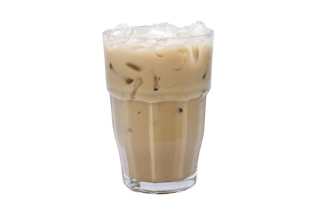 ice milk tea on white backgrounds photo