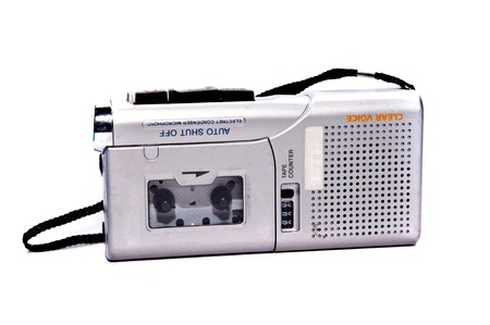 tape recorder: dictaphone on white backgrounds