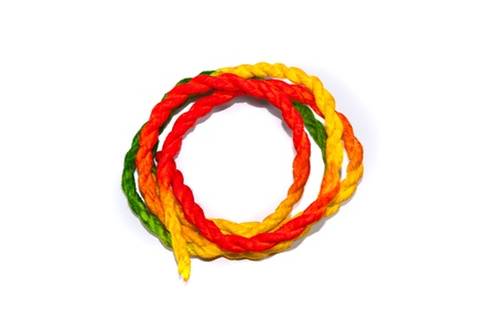 colorful rope on white backgrounds Stock Photo