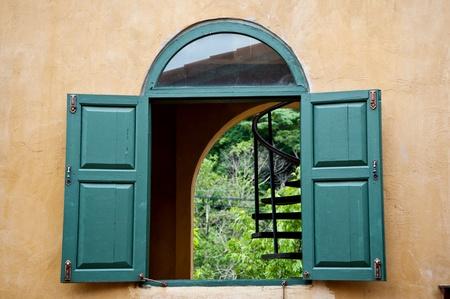 wood window on house