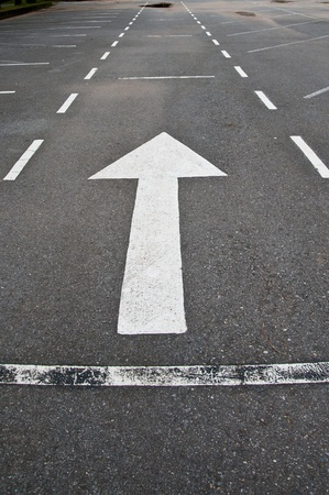 cornering: arrow on road Stock Photo