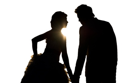 silhouette wedding on white backgrounds photo