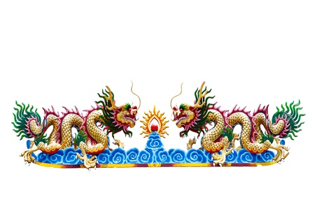 dragon statue on white backgrounds photo
