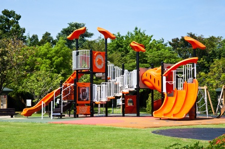 playground equipment: playgrounds in park Stock Photo