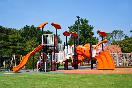 swing set: playgrounds in park Stock Photo