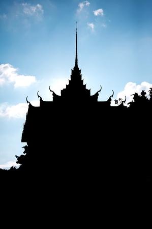 silhouette thai temple church photo