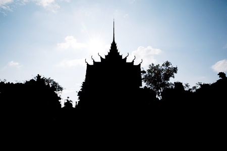 silhouette thai temple church photo