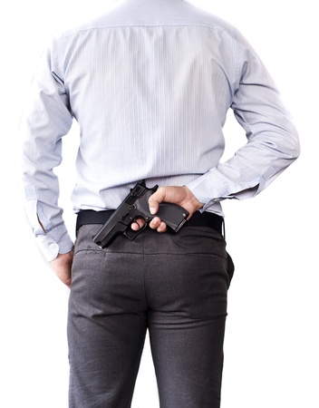 secret service: businessman and gun in hand Stock Photo