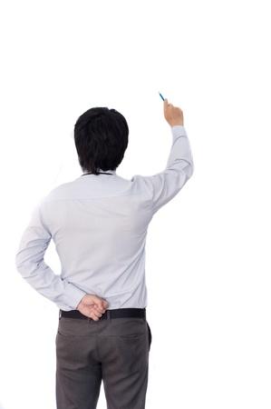 businessman write something on white backgrounds photo