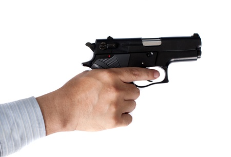 man holding gun: businessman and gun in hand Stock Photo