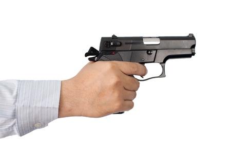 businessman and gun Stock Photo