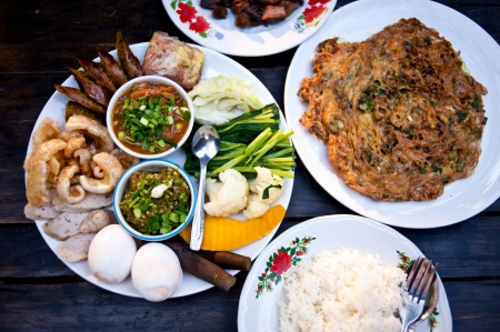 thai food in market photo