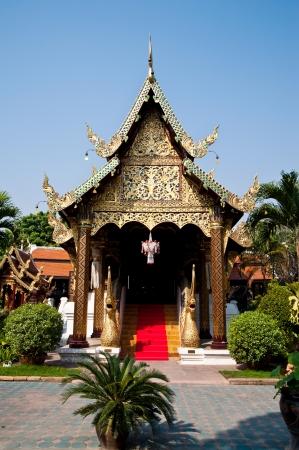 thai temple church and nice blue sky,Chiang Mai,Thailand  Stock Photo