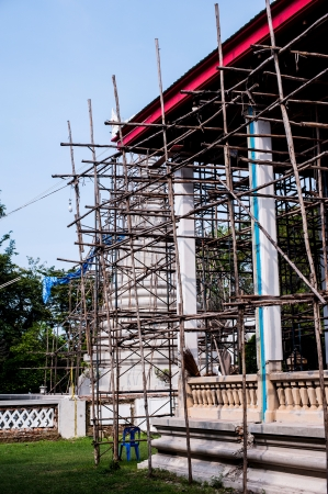 thai temple roof construction Stock Photo