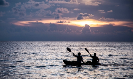 silhouette people on boat Stock Photo - 21901852