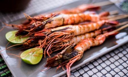 grilled shrimp,thai food photo