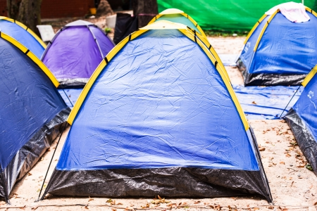 roughing: tent in forest Stock Photo