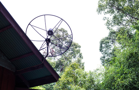 satellite dish on roof house photo