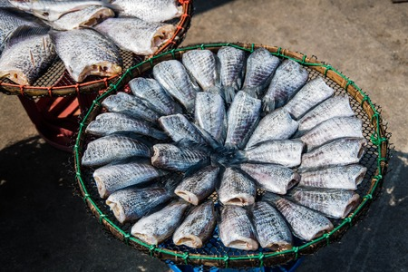 Dry fish in market