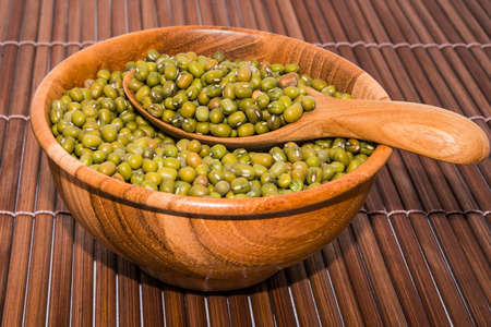 mung bean sprout: Mung bean on wood backgrounds Stock Photo