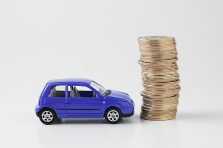 Japanese coins and toy car 版權商用圖片