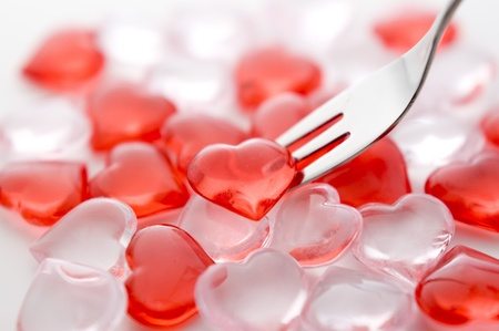 Red heart and fork photo