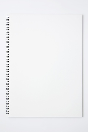 white sketchbook on white background