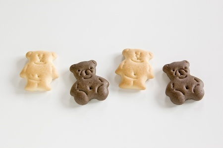 Biscuits in the form of a bear on a white background