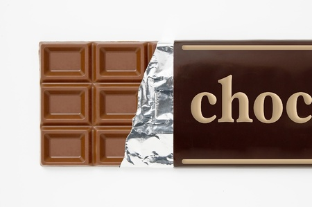 chocolate bar: Wrapping of chocolate aluminum foil and paper