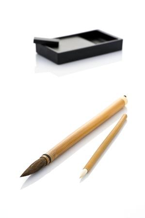 inkstone: Japanese writing brush and ink stone  Stock Photo