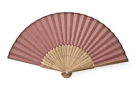 Japanese folding fan isolated on white background photo