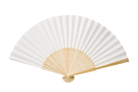paper fan: Japanese folding fan isolated on white background