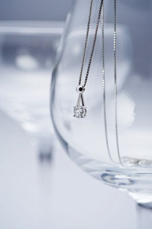 Glass and diamond necklace photo