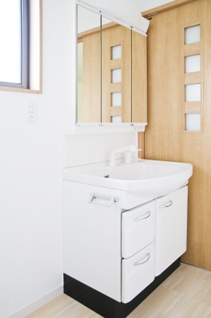 residential housing: Washstand in bathroom of new residential housing