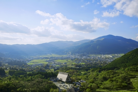 basin mountain: View of Yufuin landscape, japanese famous tourist attraction  Stock Photo