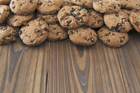 Chocolate Chip Cookies on wooden table  photo