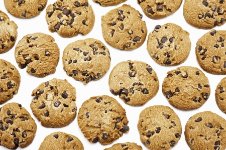 chocolate chip cookie: Close up of delicious chocolate chip cookies background  Stock Photo