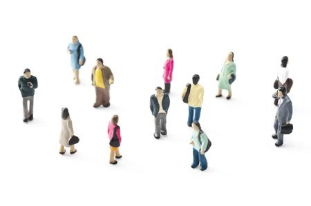 ミニチュア人形の人々 の群衆 写真素材