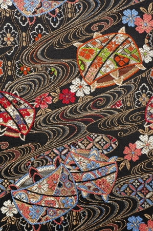 oriental rug: Beautifull pure silk textile, japanese traditional crafts