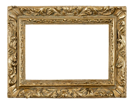 Blank antique frame on white background, close-up