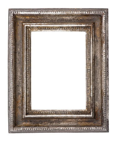 silver frame: Blank antique frame on white background, close-up