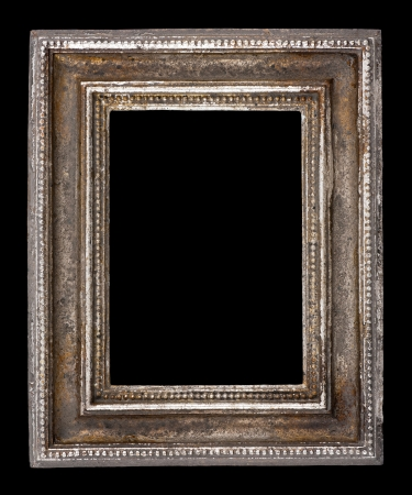 Blank antique frame on black background, close-up