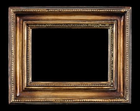 黒の背景に空白のアンティーク フレーム クローズ アップ
