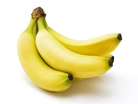 platano maduro: Plátanos aislados sobre fondo blanco Foto de archivo