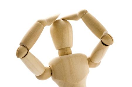 marioneta de madera: Marioneta de madera sufrir angustia, sin saber